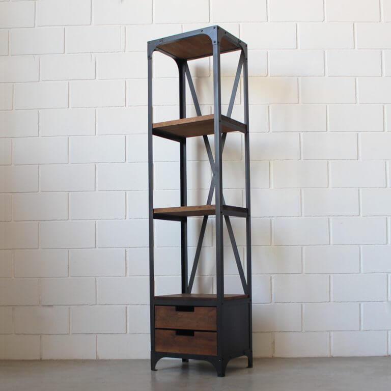 Estanter a 2 cajones hierro y madera estacion ortiz for Mesa hierro y madera
