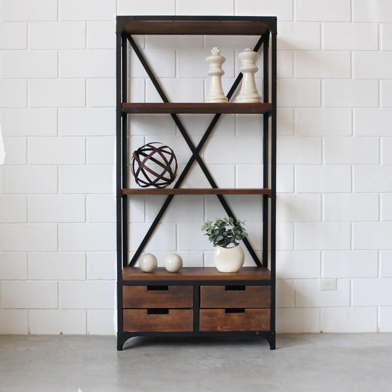 Estanteria 4 cajones hierro y madera estacion ortiz - Estanterias de madera ...