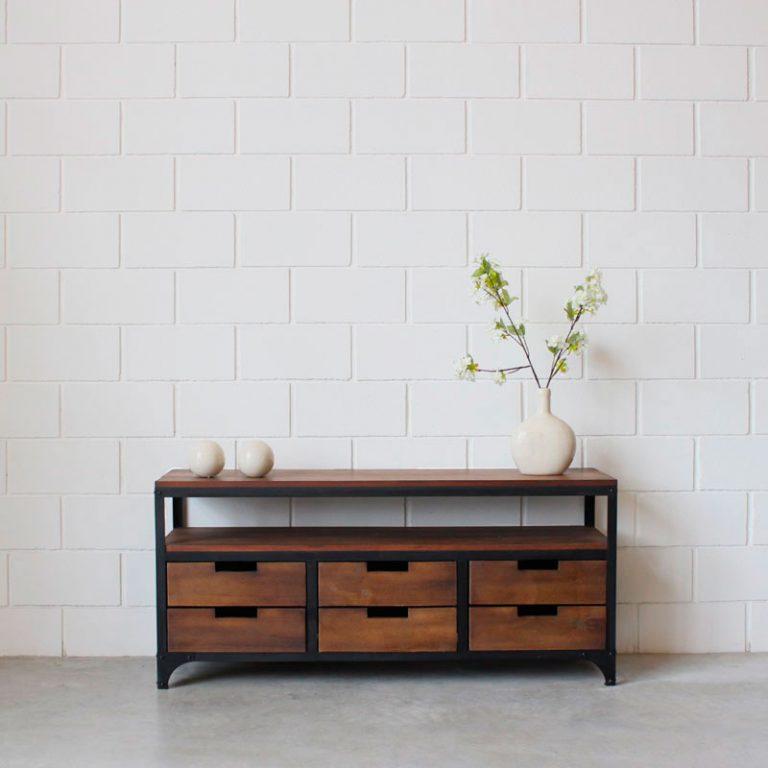 Mueble lcd 4 cajones hierro y madera estacion ortiz - Muebles de madera y hierro ...