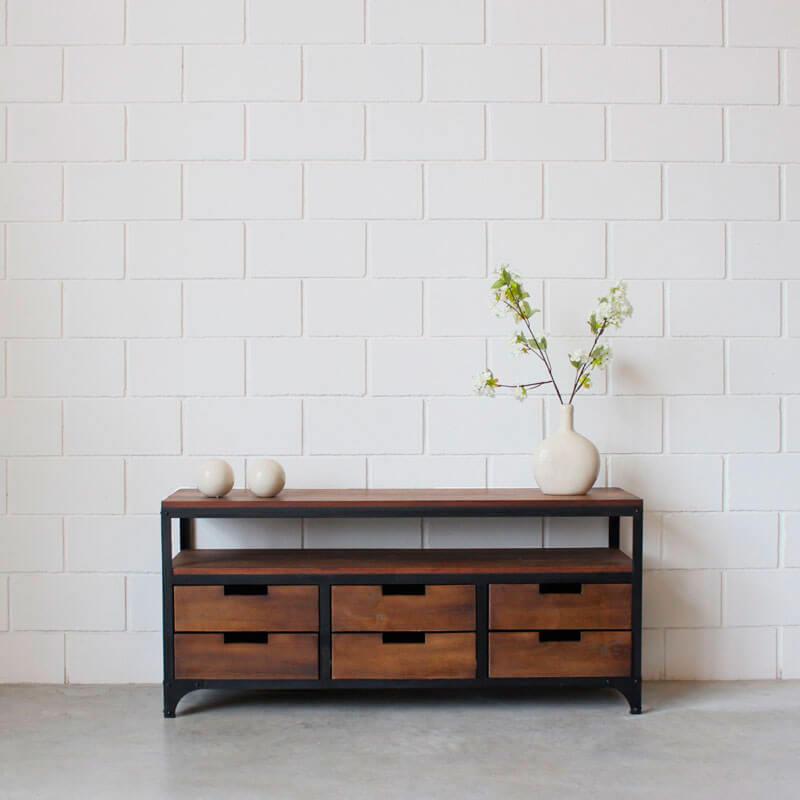 Mueble lcd 6 cajones hierro y madera estacion ortiz for Muebles de hierro y madera
